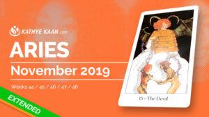 ARIES NOVEMBER 2019 TAROT READING MONTHLY HOROSCOPE FORECAST by KATHYE KAAN
